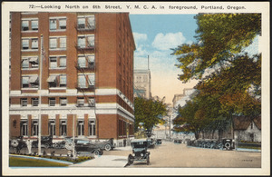 Looking north on 6th Street, Y.M.C.A. in foreground, Portland, Oregon.