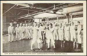 Gym. Work, Y.M.C.A., receiving ship, Commonwealth Pier, Boston, Mass.