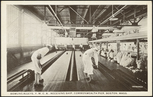Bowling alleys, Y.M.C.A., receiving ship, Commonwealth Pier, Boston, Mass.