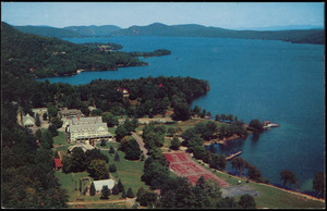 Aerial view looking north on Lake George from Silver Bay