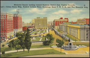 Memorial Square looking toward business district from Capitol Grounds left - Cotton States bldg., Andrew Jackson Hotel, Hermitage Hotel, Y.M.C.A., and War Memorial bldg.