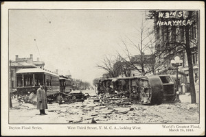 Dayton flood series. West Third Street, Y.M.C.A., looking west. World's greatest flood, March 23, 1913