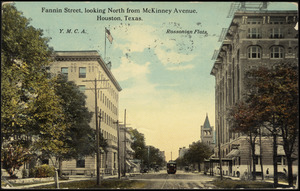 Fannin Street, looking north from McKinney Avenue, Houston, Texas, (Y.M.C.A. and Rossonian Flats)