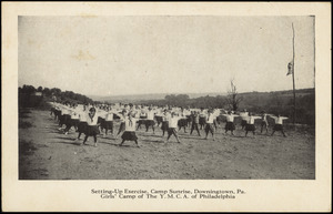Setting-up exercise, Camp Sunrise, downingtown, Pa. Girls' Camp of the Y.M.C.A. of Philadelphia