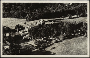Aerial view of Bynden Wood shows Stetson House and several Swiss Chalet Cottages atop South Mountain, Wernersville, Pa. Auspices Reading Y.M.C.A.