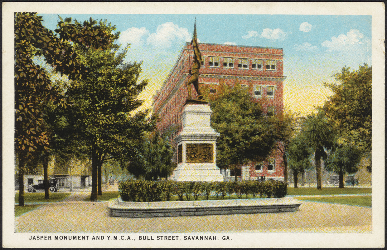Jasper Monument and Y.M.C.A., Bull Street, Savannah, Ga.