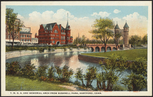 Y.M.C.A. and Memorial Arch from Bushnell Park, Hartford, Conn.