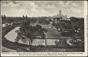 Bushnell Park, Hartford, Conn. - Showing Y.M.C.A. building at the left, also the State Capitol, Soldiers' and Sailors' Memorial Arch, the Terrace, Corning Fountain, Stepping Stones, Park River, Etc.
