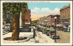 Atlantic Street. Looking north from post office, Stamford, Conn.