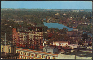Aerial view of Des Moines River looking northeast with Brown Hotel and Y.M.C.A. in foreground