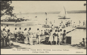 The boat landing, Young Men's Christian Association College, College Camp, Wis