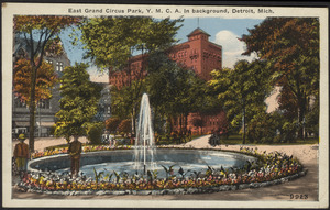East Grand Circus Park, Y.M.C.A. in background, Detroit, Mich.