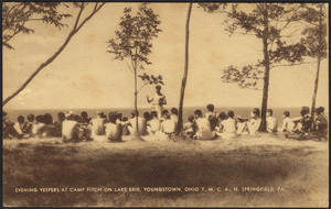 Evening vespers at Camp Fitch on Lake Erie, Youngstown, Ohio Y.M.C.A., N. Springfield, Pa.
