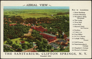 Airplane view, the Sanitarium and Clinic, Clifton Springs, N.Y.