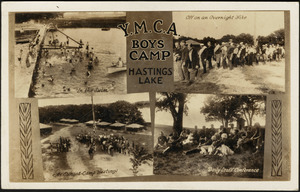 Y.M.C.A. Boys Camp Hastings Lake (in the swim, off on an overnight hike, at sunset - Camp Hastings, daily staff conference)