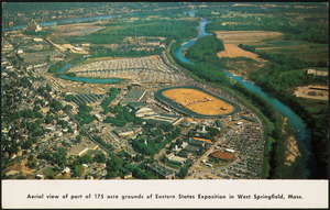 Aerial view of part of 175 acre grounds of Eastern States Exposition in West Springfield, Mass.