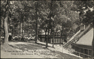 """A class on the knoll"", Young Men's Christian Assn. Camp on Lake Geneva, Wis."