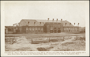 Coliseum, 300 by 200 feet, containing an arena 200 by 100 feet and 5,600 seats, where the cattle judging and a great Horse Show take place at the National Dairy Show, October 12 to 21, 1916, at Springfield, Mass.