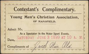 Contestant's complimentary Young Men's Christian Association of Mansfield