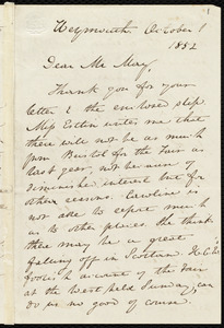 Letter from Anne Warren Weston, Weymouth, [Mass.], to Samuel May, October 1, 1852