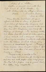Copy of a letter from John Bishop Estlin, Bristol, England, to Anne Warren Weston, Friday, July 6, 1853