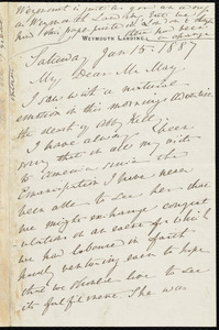Letter from Anne Warren Weston, Weymouth Landing, [Mass.], to Samuel May, Saturday, Jan. 15, 1887