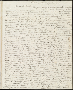 Letter from Anne Warren Weston, Chauncy Place, [Boston], to Deborah Weston, April 11, 1842