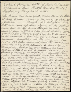 Extract of letter from Anne Warren Weston, 39 Summer Street, Boston, March 6th, 1843