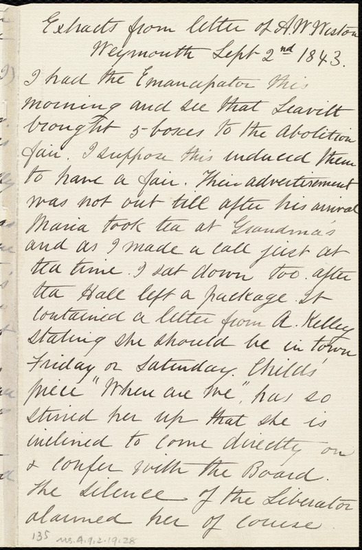 Extracts from letter from Anne Warren Weston, Weymouth, [Mass.], Sept. 2nd, 1843