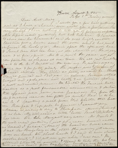 Letter from Anne Warren Weston, Boston, to Mary Weston, Sept 1st, Tuesday morning