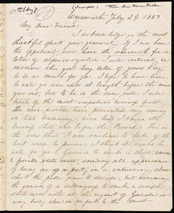 Incomplete letter from Anne Warren Weston, Weymouth, [Mass.], to Samuel May, July 28, 1853