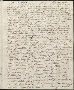 Incomplete letter from Caroline Weston, Boston, [Mass.], Thursday night, [3 Dec. 1840?]