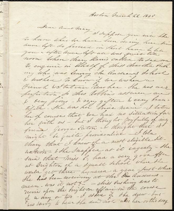 Incomplete letter from Caroline Weston, Boston, [Mass.], to Mary Weston, March 22, 1835