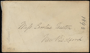 Envelope addressed to Caroline Weston, 1843