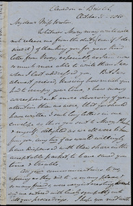 Letter from John Bishop Estlin, Clevedon n'[ear] Bristol, [England], to Caroline Weston, October 31, 1850