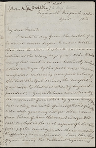 Letter from Caroline Weston, Weymouth, Massachusetts, to Mary Anne Estlin, April [25], 1865