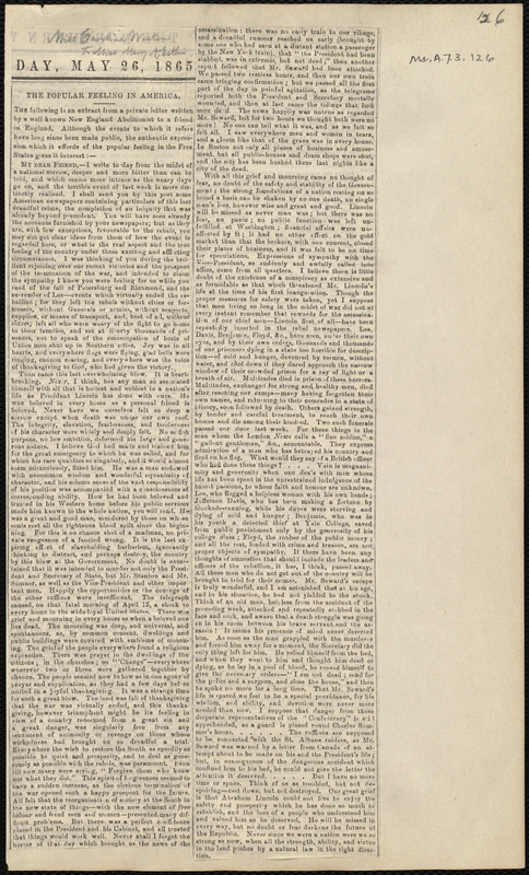 Extract of letter from Caroline Weston to Mary Anne Estlin, May 26, 1865