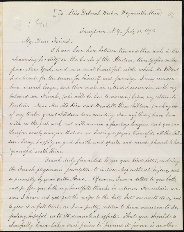 Copy of letter from William Lloyd Garrison, Tarrytown, N.Y, to Deborah Weston, July 31, 1878
