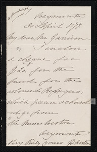 Letter from Deborah Weston, Weymouth, [Mass.], to William Lloyd Garrison, 30 April 1879
