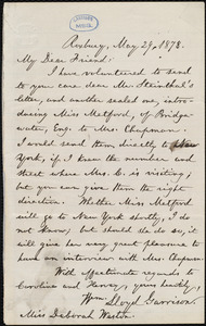 Letter from William Lloyd Garrison, Roxbury, [Mass.], to Deborah Weston, May 29, 1878
