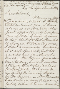 Letter from Joseph Ricketson, New Bedford, [Mass.], to Deborah Weston, 5 mo[nth] 31 [day] 1863