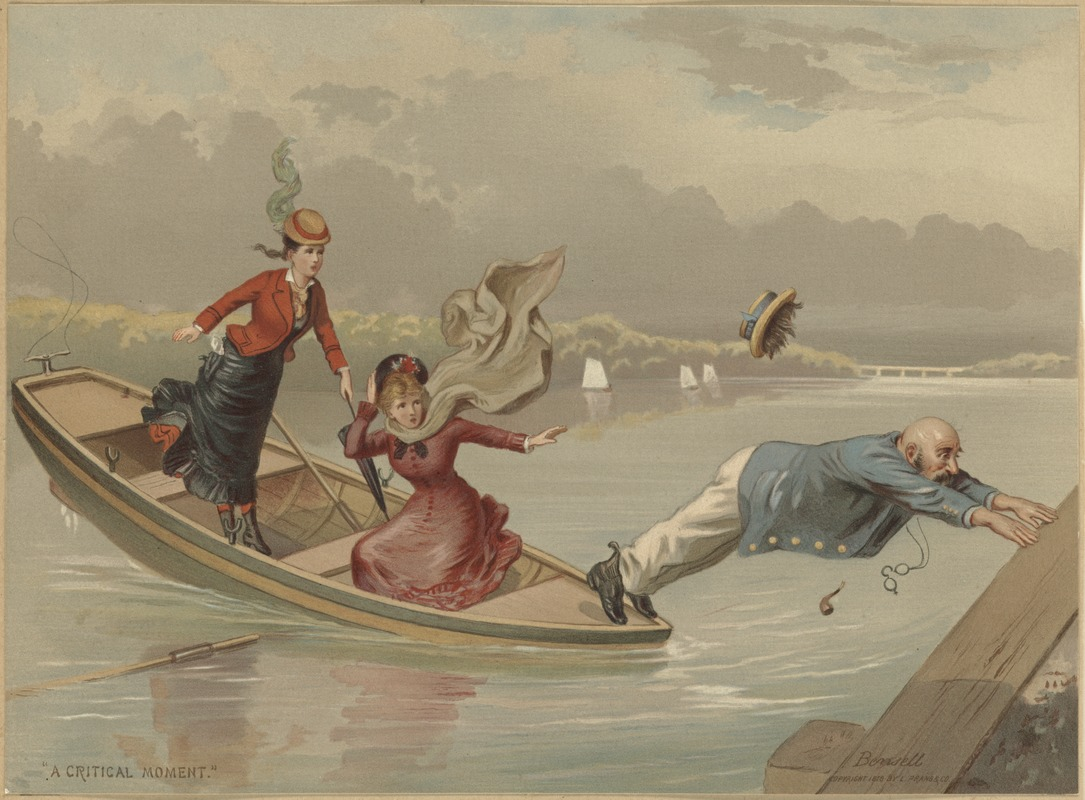 "Boating scene, ""A Critical Moment"""