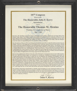 107th Congress, second session, the Honorable John F. Kerry, Massachusetts, recognizes the Honorable Thomas M. Menino, president, U.S. Conference of Mayors, May 7, 2002