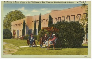 Sunlazing in front of one of the wickiups at The Wigwam, Litchfield Park, Arizona