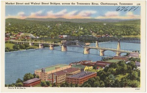 Market Street and Walnut Street Bridges, across the Tennessee River, Chattanooga, Tennessee