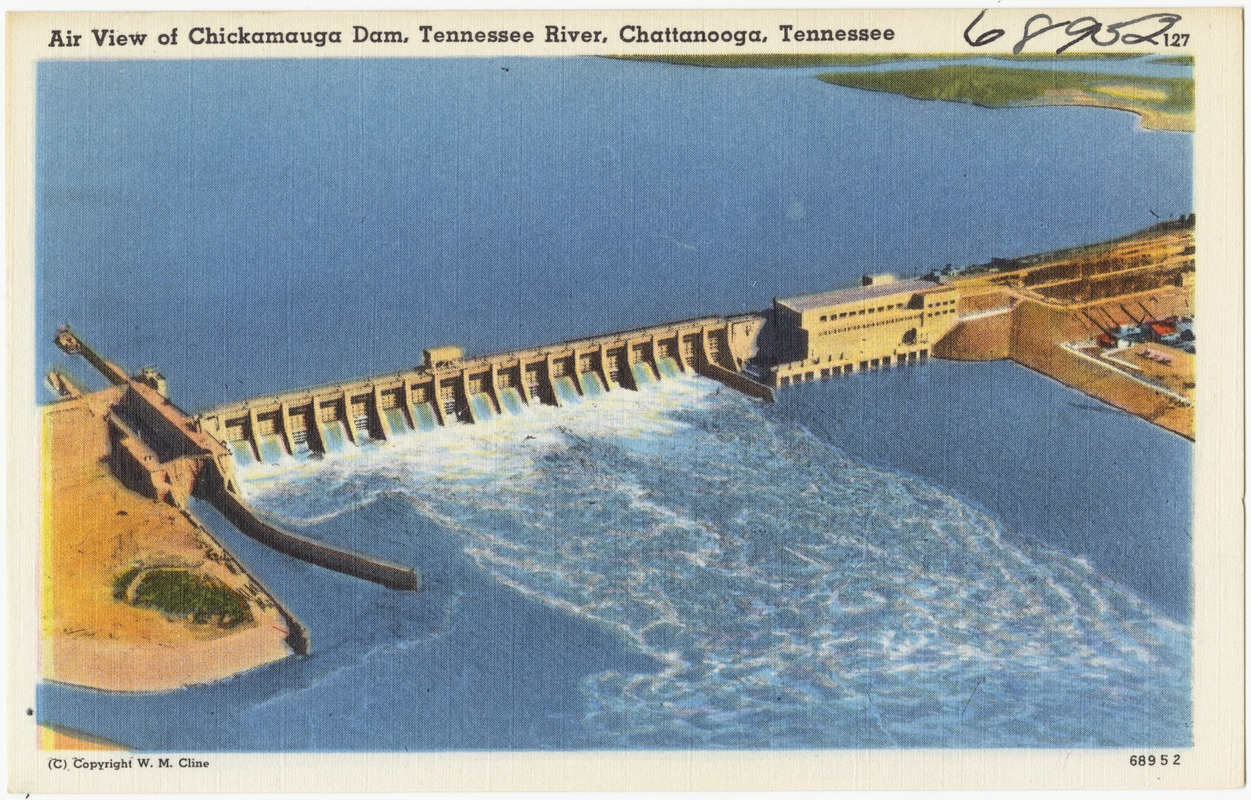 Air view of Chickamauga Dam, Tennessee River, Chattanooga, Tennessee