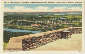 City of Chattanooga, Tennessee, as seen from Ochs Memorial on the point of Lookout Mountain