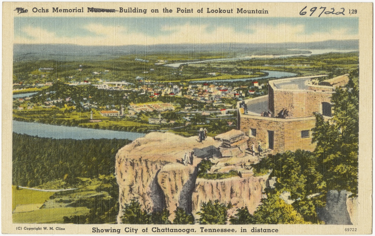 Ochs Memorial Building on the point of Lookout Mountain showing city of Chattanooga, Tennessee, in distance