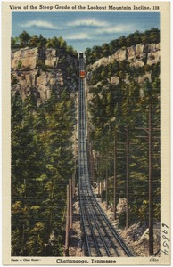 View of the steep grade of the Lookout Mountain incline, Chattanooga, Tennessee