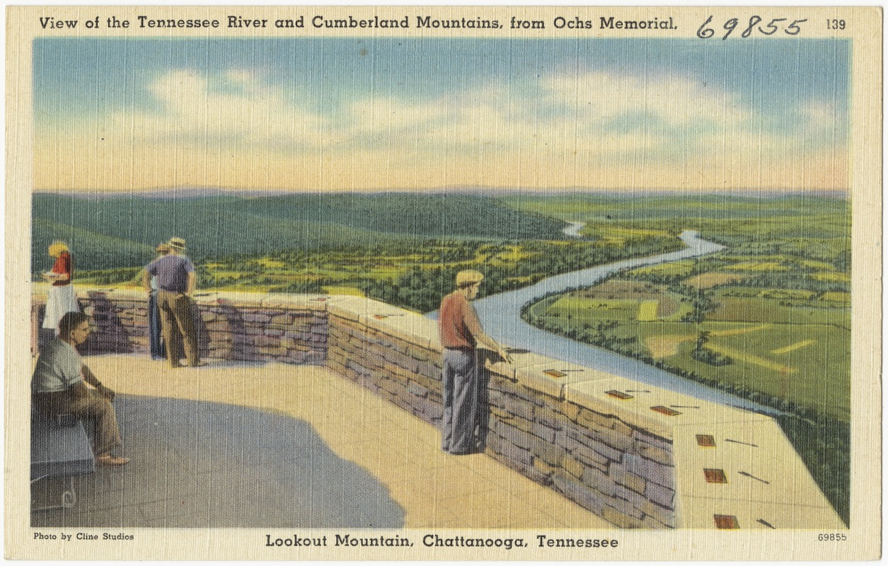 View of the Tennessee River and Cumberland Mountains, from Ochs Memorial, Lookout Mountain, Chattanooga, Tennessee